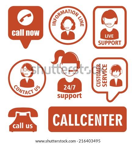 Set of call center operator icons.illustration - stock photo