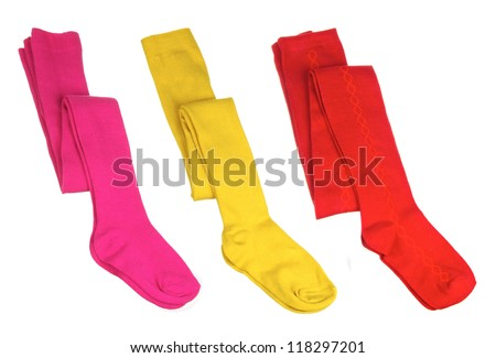 set of color child's tights isolated on white - stock photo