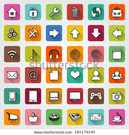 set of colored square flat icons with shadows for e-commerce web site