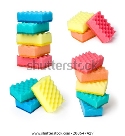 set of colorful sponges on a white background - stock photo