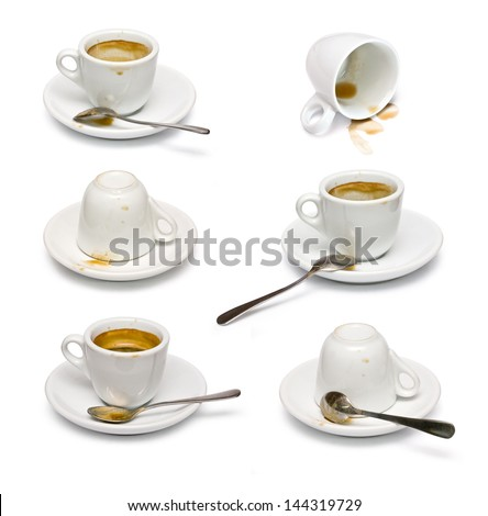 set of Empty used cup, saucer and silver spoon isolated over white. - stock photo