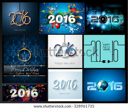 2016 SET of Happy New Year Background for your Christmas Flyers, dinner invitations, festive posters, restaurant menu cover, book cover,promotional depliant, Elegant greetings cards and so on. - stock photo