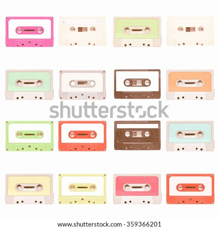 Set of magnetic tape cassette for audio music recording - isolated over white background vintage - stock photo
