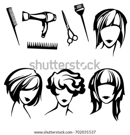 Set Stylized Logo Womens Hairstyles Hairdressers Stock Illustration ...
