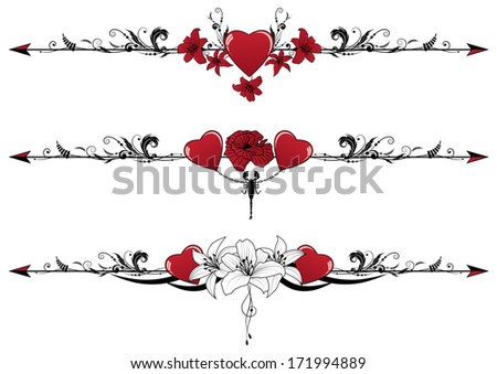 set of Valentine borders with hearts, scorpion and flowers - stock photo