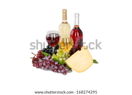 Set of white and rose wine bottles, glas and cheese, red and white grapes. isolated on white background