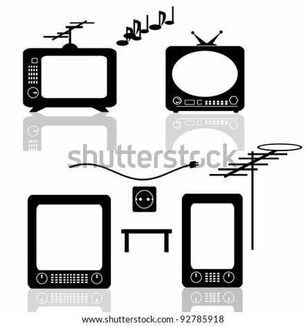 Set retro tv - stock photo