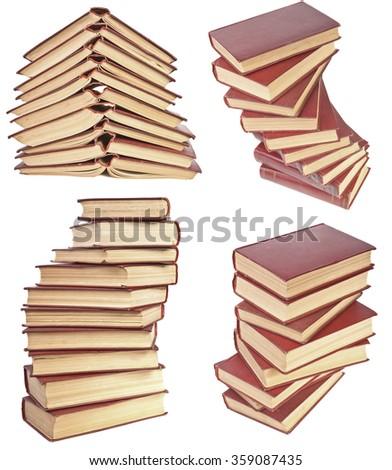 set stack of old books with yellowed pages isolated on white background - stock photo