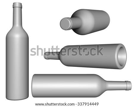 4 set wine bottles. 3d render. Illustration - stock photo