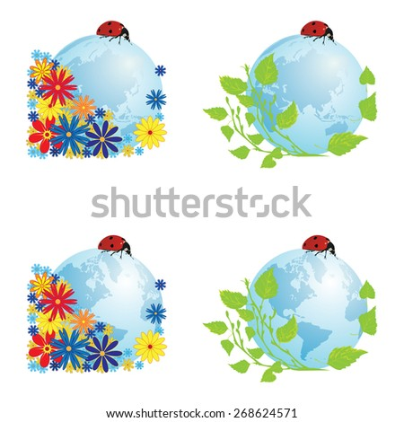set with illustrations of globe with ladybird - stock photo
