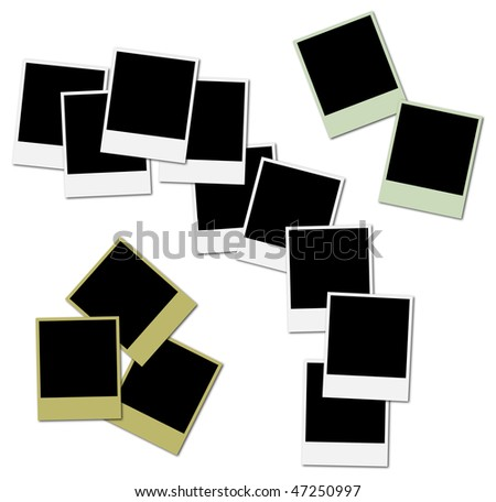 3 sets of colored frames ready to insert photos and create photo collages - stock photo