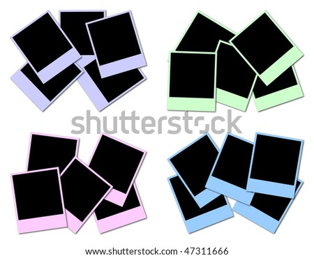 4 sets of colored frames ready to insert photos and create photo collages - stock photo