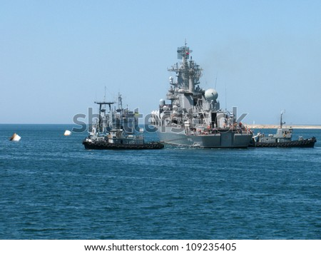 SEVASTOPOL, UKRAINE - JULY 29, 2012 - Guided Missile Cruiser Moskva at Ukrainian Fleet Day and Day of Russian Navy in Sevastopol on 29 of July, 2012.