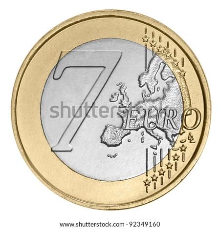 Seven euro coin on white - stock photo