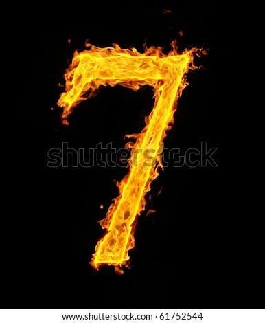 7 (seven), fire figure - stock photo
