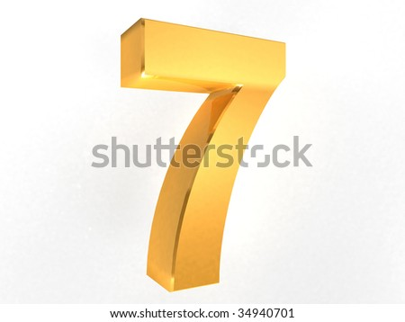 7 - Seven Gold Number on white background - 3d image - stock photo