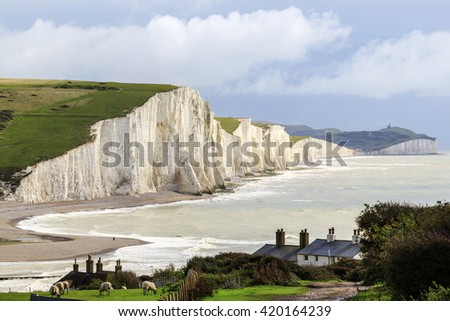 Seven Sisters Cliffs in the south downs sussex UK - stock photo