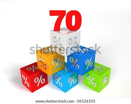 70 - seventy Percent - pyramid cube - Objects over white - stock photo