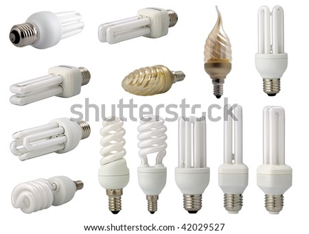 several  modern energy saving light bulbs, isolated on white background, in one big file. - stock photo