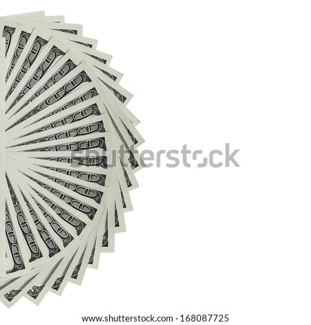 Several 100 US $ money notes spread out in fan shape, isolated on white background. - stock photo