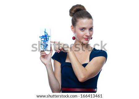 sexy girl holding a gift in packing - isolated over a white background