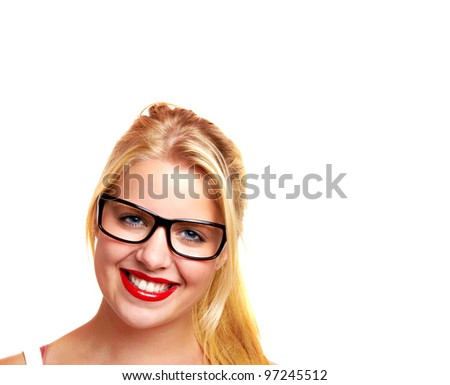 sexy young blond woman with glasses - stock photo