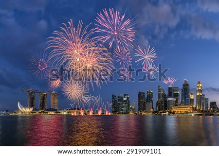 50SG festival ,Singpore National Day ,Beautiful fireworks in Marina Bay - stock photo