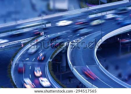 Shanghai, a busy highway - stock photo