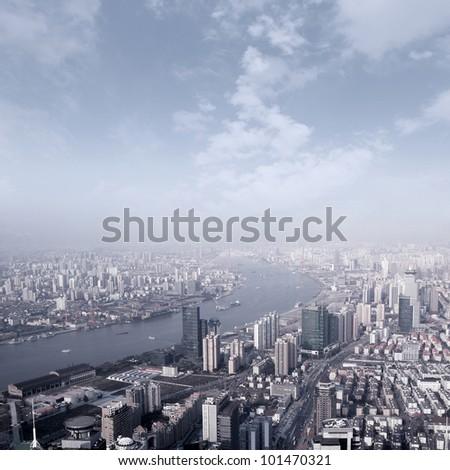 Shanghai skyline overlooking - stock photo