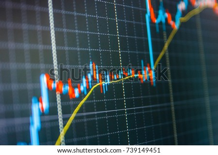 Share price candlestick chart. Finance background data graph. Stock market chart, graph on blue background. Stock trade live. Blue background with stock chart. Blue screen of finance data.