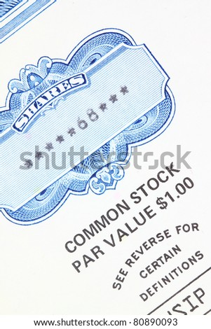 68 shares - close up of a vintage stock market object. Obsolete corporate shares certificate. - stock photo