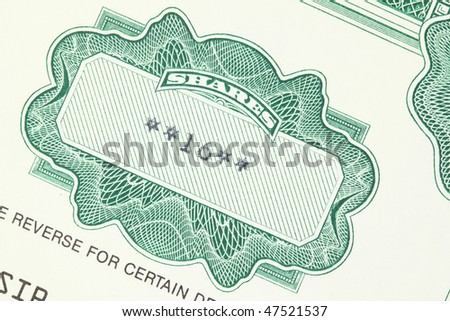 16 shares. Old stock share certificate. Vintage scripophily objects. - stock photo