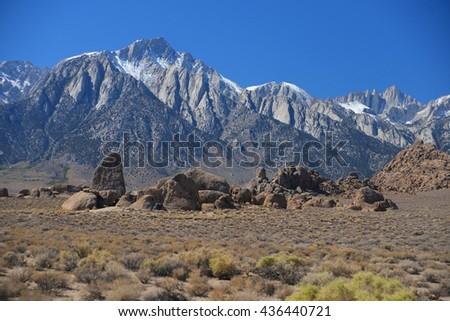 shark fin and mount whitney at alabama hills , california - stock photo
