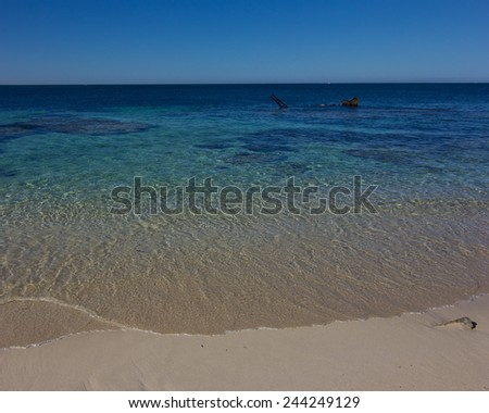 """Shark"" shipwreck at Rottnest Island, Perth - stock photo"
