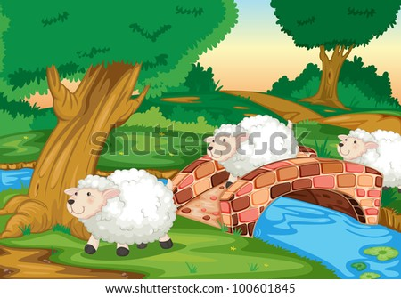 3 sheepcrossing a bridge - EPS VECTOR format also available in my portfolio. - stock photo