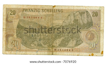 20 shilling bill of Austria, dun view