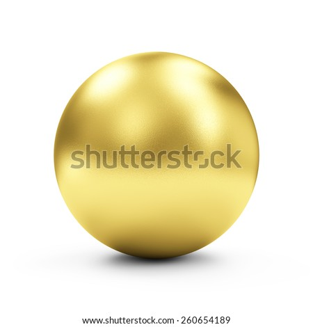 Shiny Big Golden Sphere or Button isolated on white background - stock photo