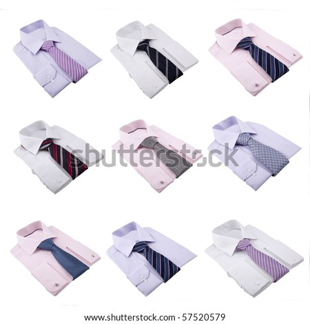 shirts with neckties isolated on white - stock photo