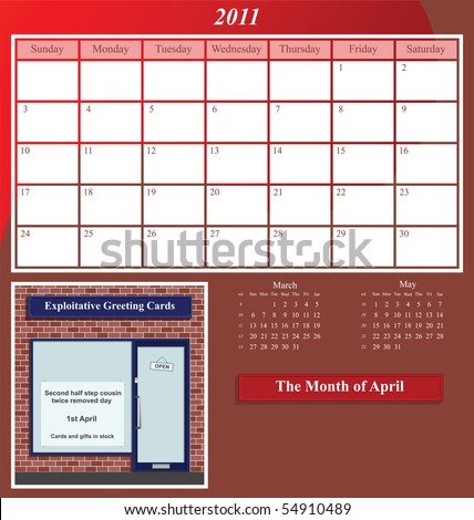 2011 Shop series calendar for the month of April