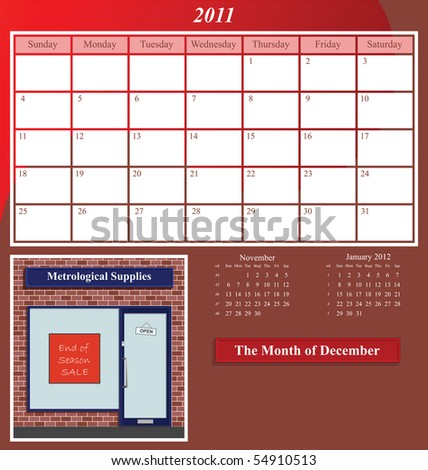 2011 Shop series calendar for the month of December