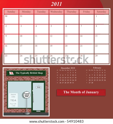 2011 Shop series calendar for the month of January