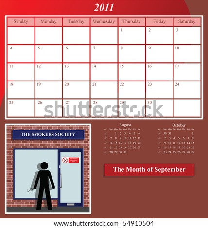 2011 Shop series calendar for the month of September