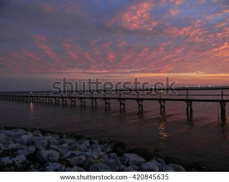 161 Shoreline - view of Aransas Bay taken from Rockport TX. - stock photo