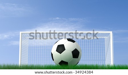 shot of a soccer ball on a field - high resolution rendering - stock photo