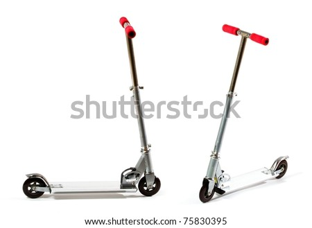 shot of metal toy scooter, isolated on white.? - stock photo