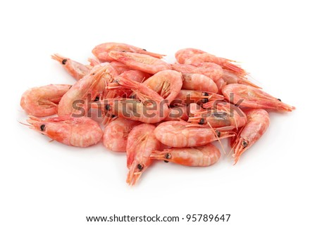 Shrimps isolated on white background - stock photo