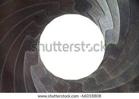 shutter apertures frame background - stock photo