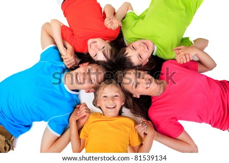 Siblings in colorful t shirts - stock photo