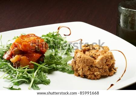 sicilian caponata pie seasoned with vinegar - stock photo