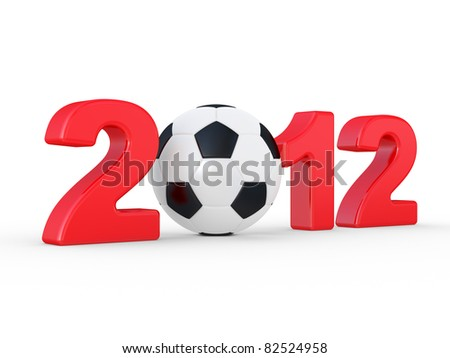 2012 sign and soccer-ball on a white background - stock photo